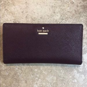 Kate Spade Leather Bifold Wallet - Deep Plum